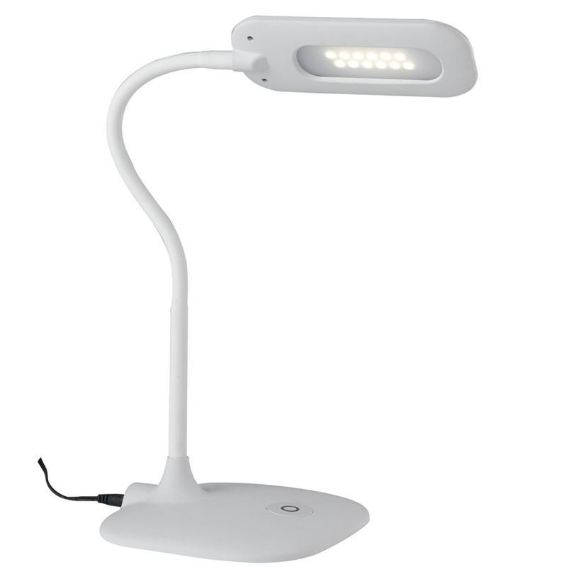 Ledt Darwin White Lume Lampada Scrivania Bianca Comandi Touch Metallo Silicone Plastica Led 4 8 Watt Luce Naturale